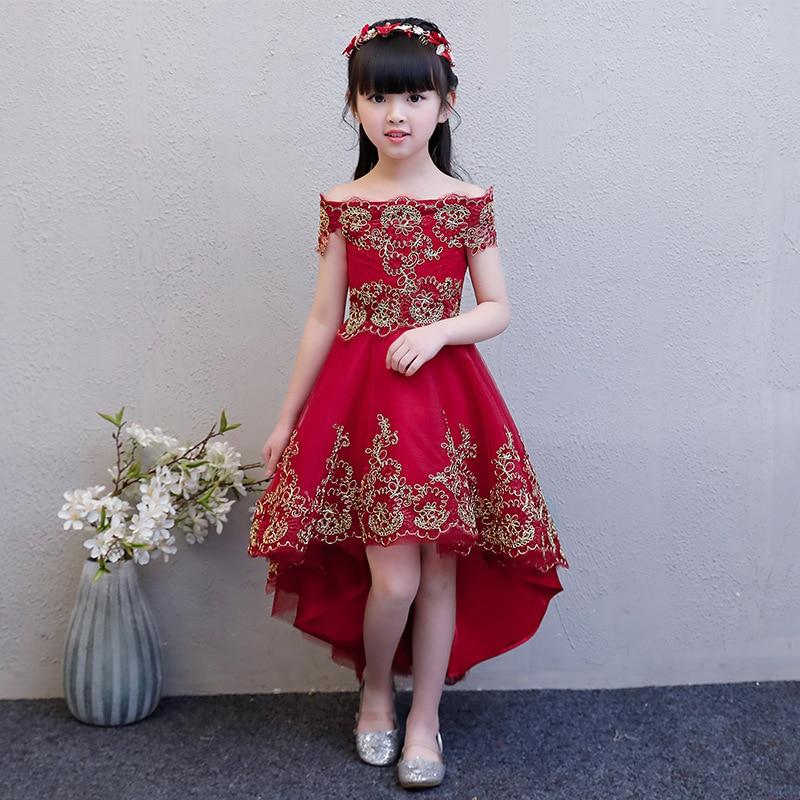 Flower Girlr Wedding Short Front Long Back Princess  Collar Kids Pageant Dress