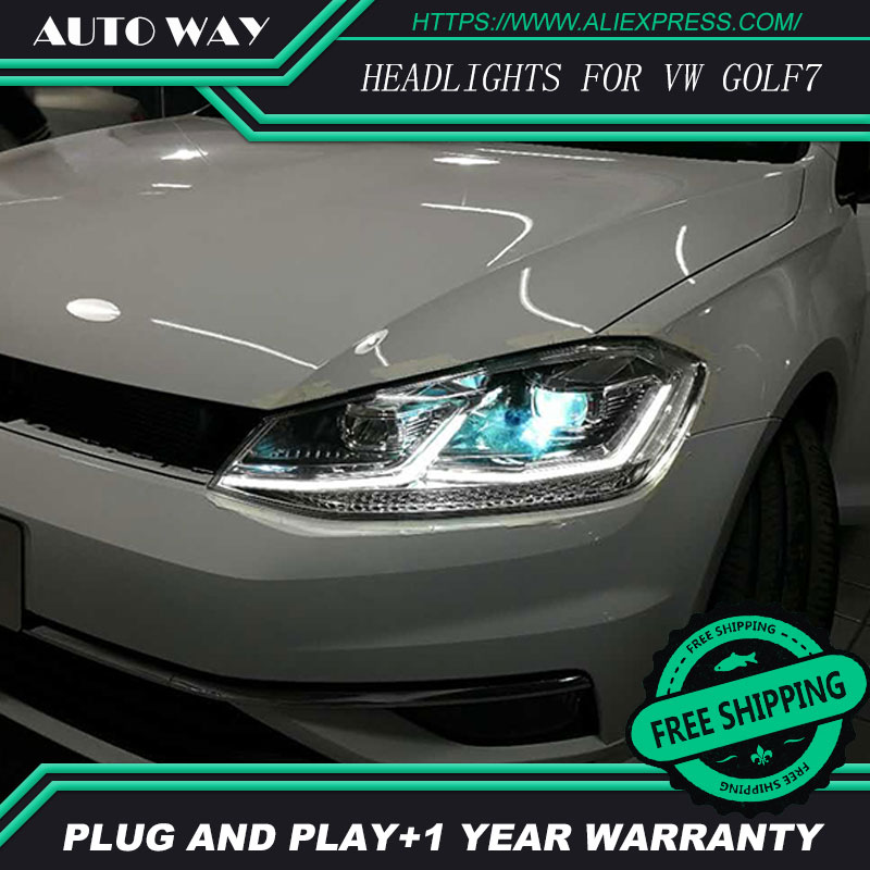 Car Styling Head Lamp for VW Golf7 Headlights Golf 7 MK7 2014 2015 LED Headlight H7 D2H Hid Option Angel Eye Bi Xenon Beam free shipping for vland car styling head lamp for vw golf 7 headlights led drl led signal h7 d2h xenon beam