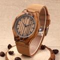 Novos Relógios Homens Moda 2016 De Madeira Zebrano Couro Genuíno Relógio para Homens Vestido de relógio de Pulso Mulheres Relógio De Quartzo-Relógio Relogio Masculino