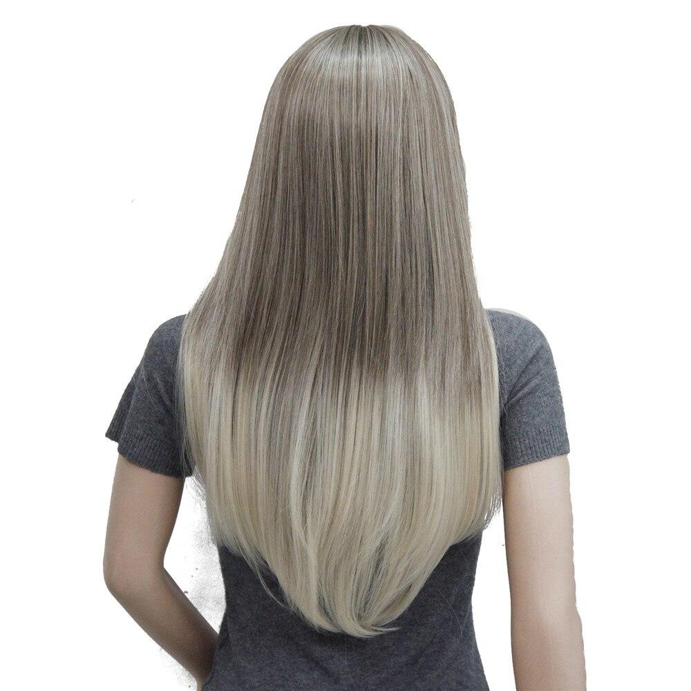 Image 3 - Perruque synthétique complète Ombre Blonde longue lisse  Perruque à frange soignée pour femmes, perruque Ombre pour femmesSynthétique Aucun-Dentelle Perruques   -