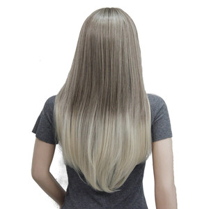 Image 3 - StrongBeauty נשים של ארוך ישר שיער מסודר מפץ תסרוקת בלונד Ombre פאה סינטטי מלא פאות