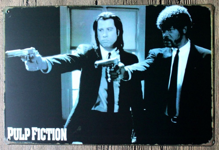 1pc Pulp Fiction Movie drama plaques Tin Plate Sign wall man cave Decoration Poster metal vintage retro shabby decor shop in Plaques Signs from Home Garden