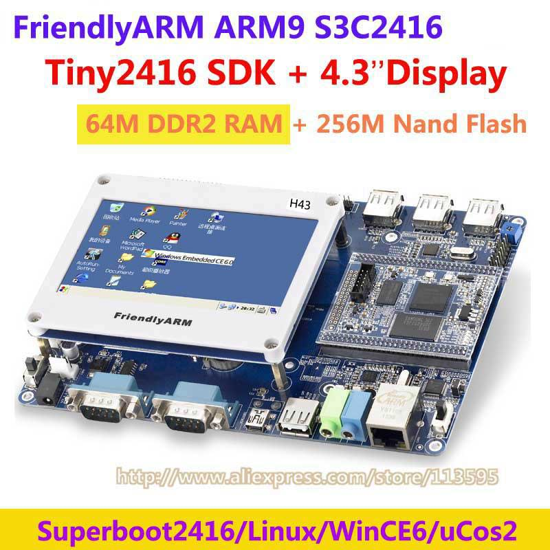 FriendlyARM ARM9 TINY2416 + 4.3 inch touch screen , 64M Ram 256M Nand Flash, S3C2416 Development Board ARM kit , Linux Wince6 for 7 inch tablet lcd display wjws070087a fpc lcd screen module replacement 30 pin lwh 164 97 2 5mm