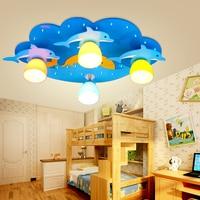 Пульт дистанционного управления дети светодио дный лампа ребенок светло голубой потолок личности Дельфин детский потолочный светильник м