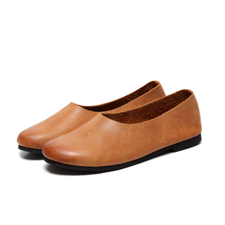 ФОТО Top Quality Vintage Handmade Featured Casua 2017 Women Spring Female Loafers Cow Leather Shoes Plain Elegant Fashion Style