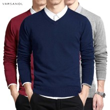 Хлопковый свитер мужской пуловер с длинными рукавами мужской свитер кофты v-образным вырезом топы свободный однотонный крой трикотажная одежда 8 цветов Новинка