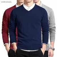 хлопковый свитер мужской пуловер с длинными рукавами мужской свитер кофты v-образным вырезом топы свободный однотонный крой трикотажная од...