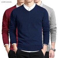 Homens Camisola de Algodão Pulôveres de Manga Longa Outwear Homem blusas Com Decote Em V Tops Solto Fit Sólidos Roupas De Tricô 8 Cores Novo|men v-neck sweater|cotton sweater men|sweater men -