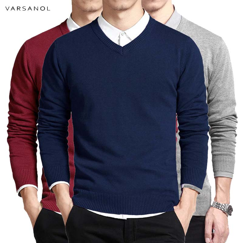 Varsanol Cotton Sweater Men Long Sleeve Pullovers Outwear Man V-Neck sweaters Tops Loose Solid Fit Knitting Clothing 8Colors New(China)