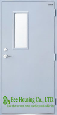 Residential Steel Fire Doors With Glass Vision, 60 Minutes Fire Rated Door Steel Fire Door With Panic Push Bar And Door Lock