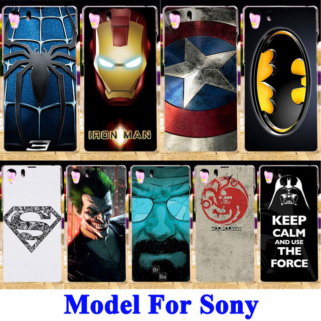 """AKABEILA Silicone TPU PC Hard Cases For Sony Xperia Z1 L39H C6903 C6943 LT39 C6902 C6906 5.0"""" Batman Printed Phone Covers Bags"""