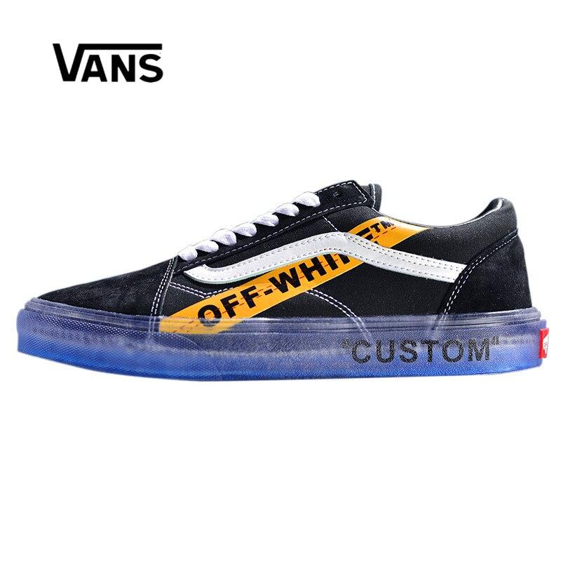 Оригинальное новое поступление Vans Мужская и Женская Классическая обувь для скейтбординга Old Skool X Off-White с низким верхом удобные парусиновые ...