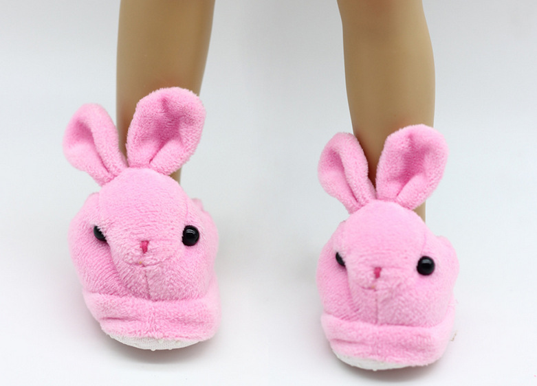 Pink Rabbit Slippers For 18 American Girl Doll Slippers For Baby Girls Doll Accessories Children Best Birthday Gifts