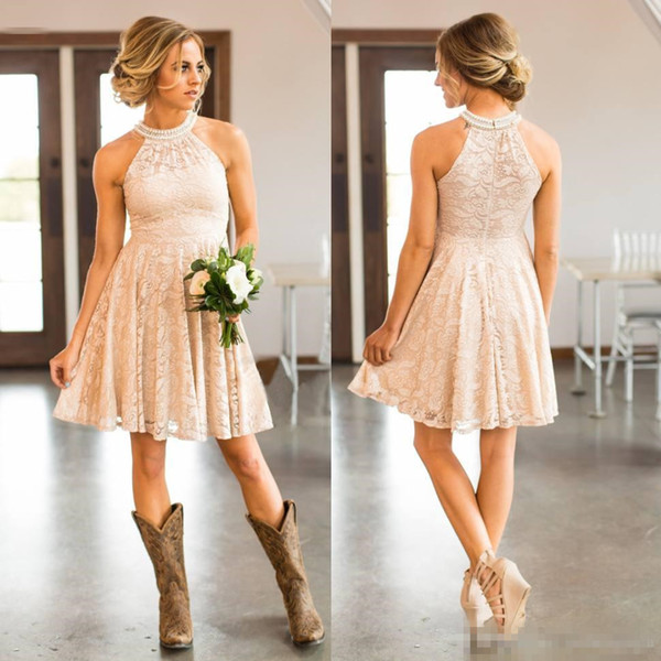 Cheap Short Lace Country cowgirls   Bridesmaids     Dresses   Pearls Halter Neck Knee-length Boho Beach Maid of Honor Wedding Guest robe
