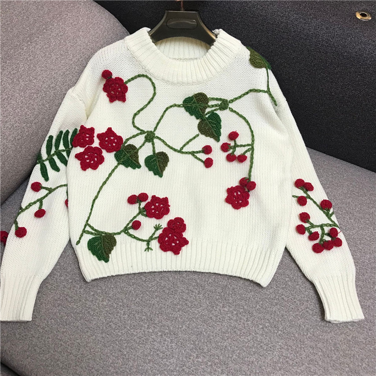 Nouvelle Fleurs 2018 Cavalier Broderie En Femmes Hiver Noir blanc Trois De Main Poncho Réel Dimensions Crochet Chandails Pull Plein Chandail tqwxanOI7
