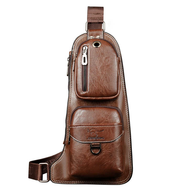 Luxury Brand Kangaroo Messenger Bag Men Leather Chest Bag Vintage Sling Bag Male Chest Pack Travel Casual Crossbody Shoulder Bag