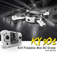 OCDAY KY901 2.4GHz RC Quadcopter 3D Flip 4CH Foldable Mini Drone BNF Altitude Hold Headless Mode Drone Camera Indoor Outdoor Toy