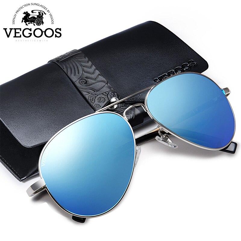 3bdebe0ffc6c0 Aviação Óculos De Sol Piloto Homens VEGOOS Polarizados Verdadeiro Flash  Espelhado Lens Óculos de Sol Das