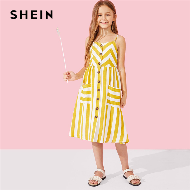 SHEIN Kiddie Yellow Button Up Striped Slip Cami Dress Mother Kids 2019 Summer Pocket Sleeveless Casual Mother Daughter Dresses scallop trim cami dress