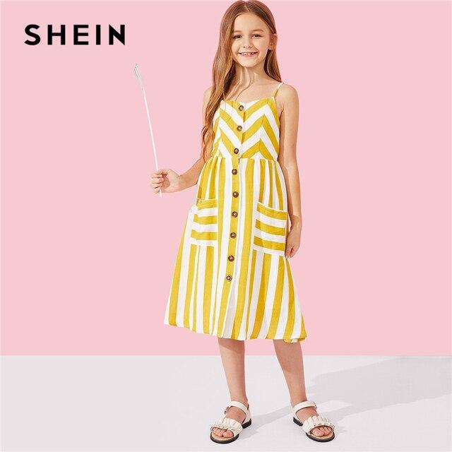 SHEIN Kiddie/желтое платье-комбинация в полоску с пуговицами на бретельках 2019 г., летние повседневные платья без рукавов с карманами для мамы и дочки