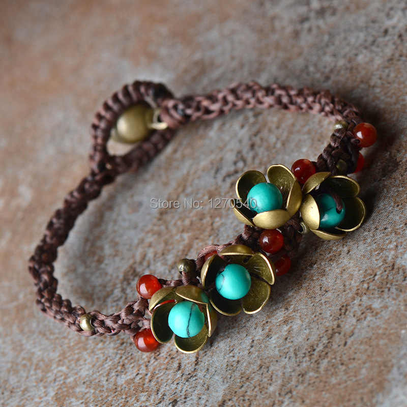 Original handmade stones ethnic jewelry bracelet,fashion chinese wind new thailan vintage jewelry tibetan bracelet