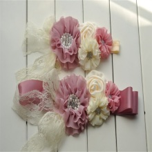 8set/lot  Ivory&Mauve Sash Belt Set Chiffon Flower Baby Headband Weeding Maternity
