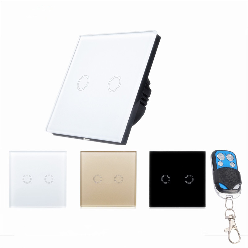 EU/UK Touch Wall LED Light Lamp Switch RF 433 Wireless Remote Control Button Switch 2 gang 1 way For Smart Home y602 2017 free shipping smart wall switch crystal glass panel switch us 2 gang remote control touch switch wall light switch for led