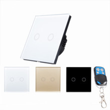 EU/UK Touch Wall LED Light Lamp Switch RF 433 Wireless Remote Control Button Switch 2 gang 1 way For Smart Home y602