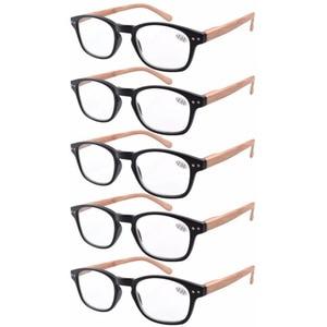 Image 4 - Eyekepper R034 5 pack الربيع المفصلي الأسلحة الخشب الحبوب المطبوعة القراءة نظارات الشمس القراء + 0.50     4.00