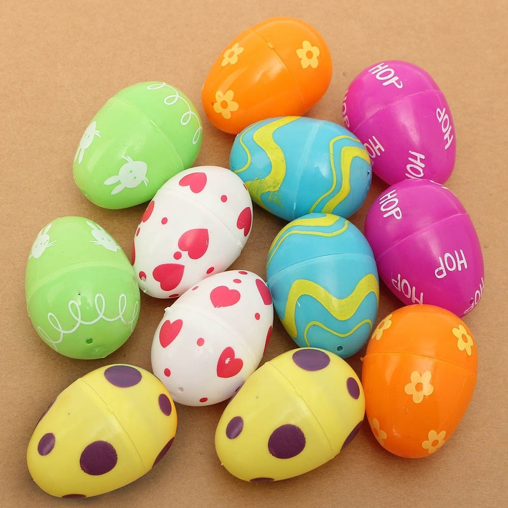New Lovely 12Pcs Mix Colored Plastic Empty Easter Eggs Hunt Gifts Beautiful Design Empty Fillable Children Kids Toys Games