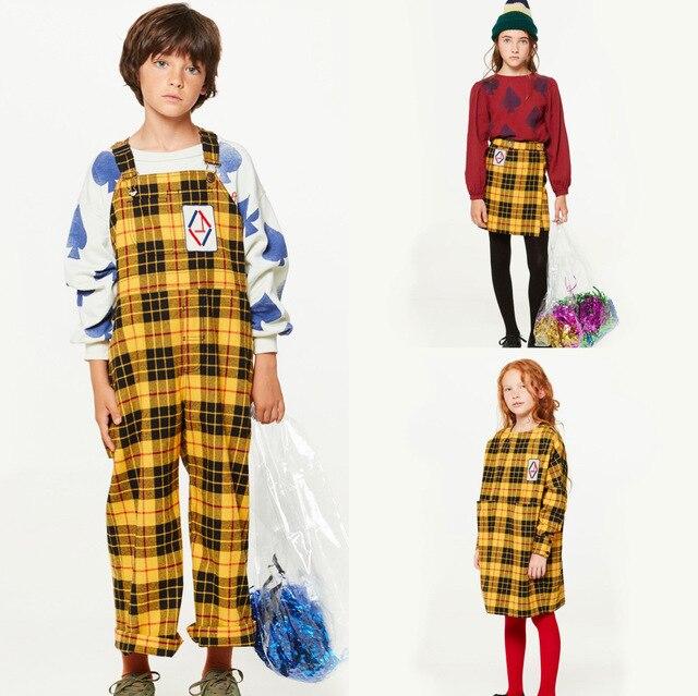 fc8b96fc555 Girls Clothing Set 2018 Autumn TAO Tartan Swallow Dress Skirt Boystartan  Mechanic Suit Overalls Fashion Clothes Bobo Choses