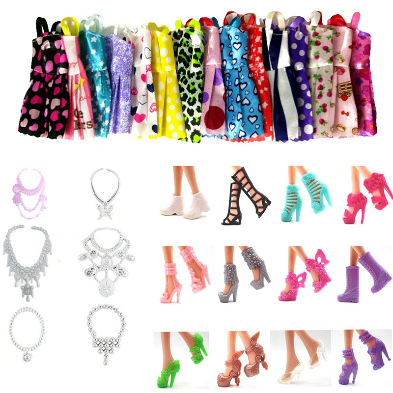 25 Set Doll Accessories=10PCS Mix Sorts Beautiful Clothes Dress for barbie+5pcs Random Necklace+10 Pairs Shoes for 11'' barbie random 12 pcs mixed sorts barbie doll fashion clothes beautiful handmade doll party dress for barbie dolls girl gift kid s toy