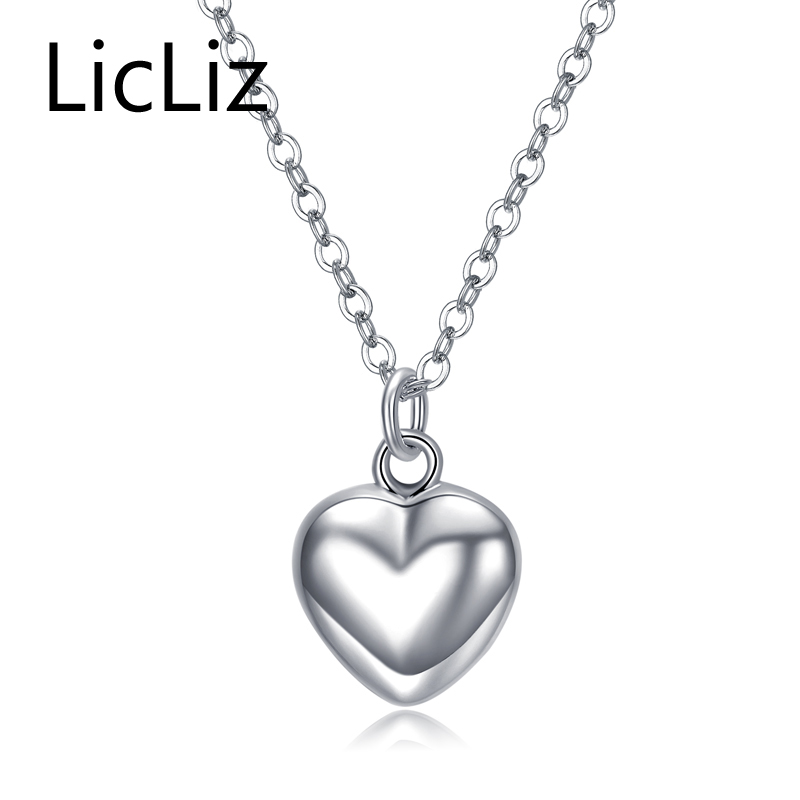 LicLiz 925 sterling silver heart pendant necklace with ...