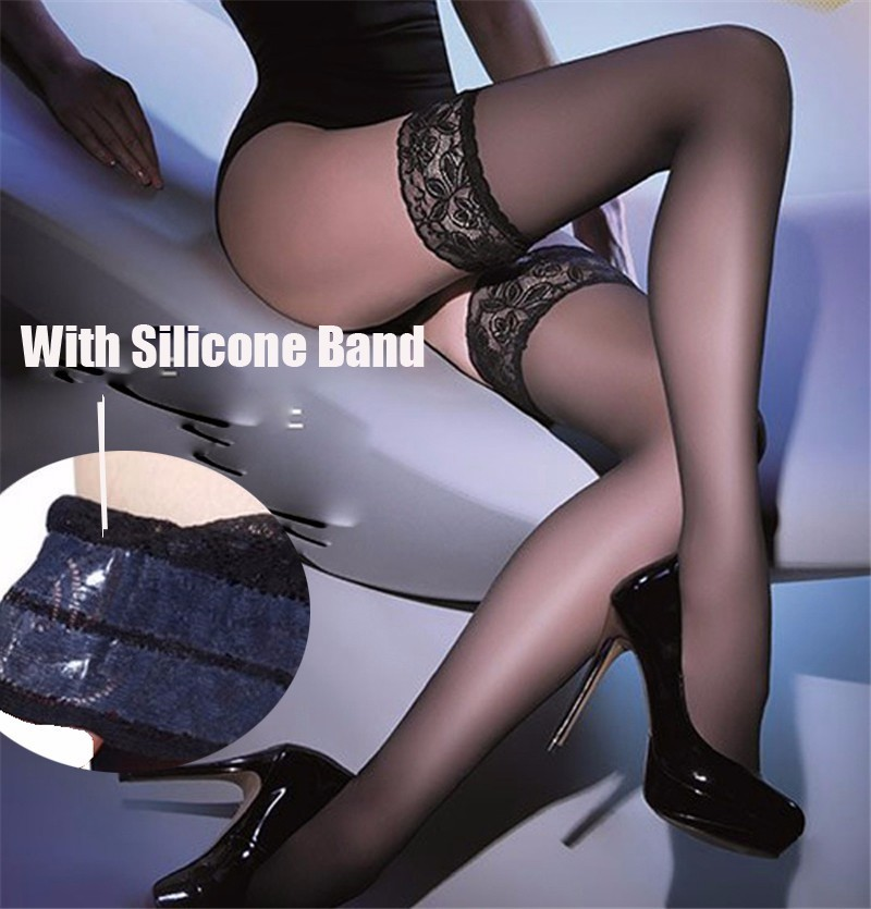 Women Lace Top Sexy Stockings Medias Sexy Muslo Sheer Nylon Over Knee Thigh High Hosiery Silicone Band Stay Up Stockings SW118