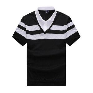 Image 3 - 6XL 8XL 10XL 2018 אופנה גברים עם פסים מותג קצר חולצת פולו Mens חולצת פולו בגדי קיץ חולצת מקרית למעלה חולצות זכר