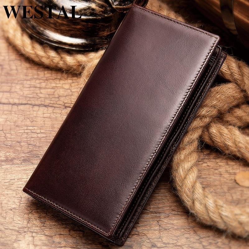 WESTAL Long Wallets Coin-Purse Money-Bag Clutch Genuine-Leather Zip-Portomonee Male Men