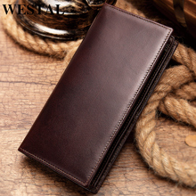 WESTAL 100% Men's Wallet Genuine Leather Clutch Male Coin Pu