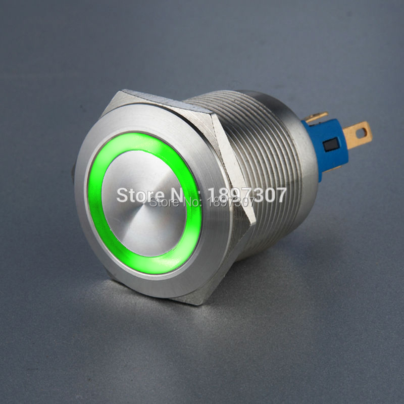 все цены на 22mm Latching metal push button switch with Green Ring LED  6V,12V,24V,110V,230V Self Locking Switch онлайн