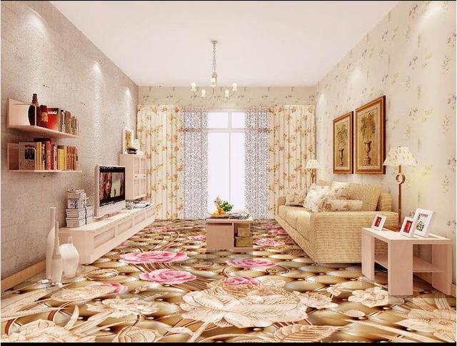 3d Fußboden Material ~ Feinen europäischen stil retro d boden tapetenwandbilder blume