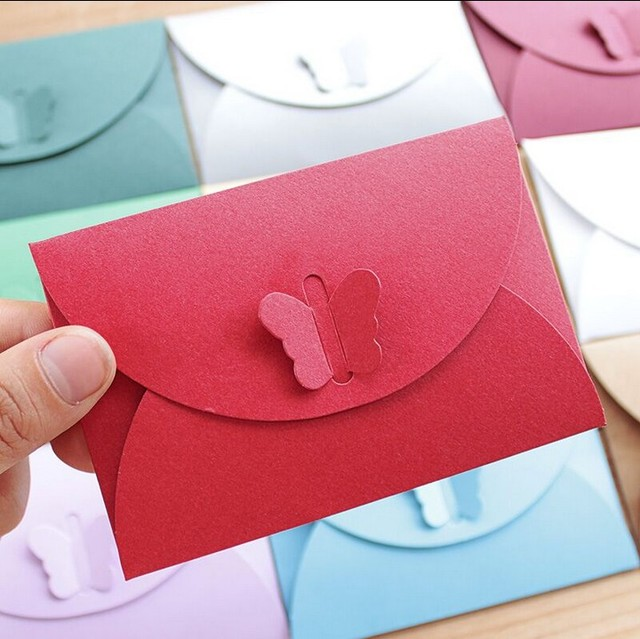 100pcs lot 10 5 7cmcm small paper envelope colorful butterfly clasp