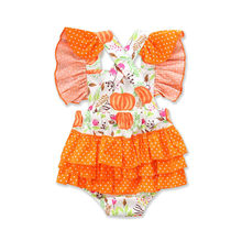 01ab87533 Halloween Rompers Newborn Baby Girl Cartoon Pumpkin Romper Jumpsuit Summer  Floral Lace Up Outfits Clothes