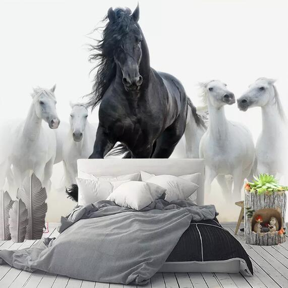 Custom 3D Photo Wallpaper Modern Art Black White Horse TV Background Wall Paper Mural Creative Living Room Bedroom Home Decor