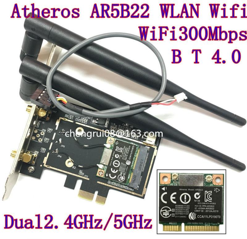 Desktop wifi WLAN Atheros AR5B22 300M Wireless Wifi Bluetooth 4.0 PCI-E Card Desktop Adapter 6DB antenna bluetooth