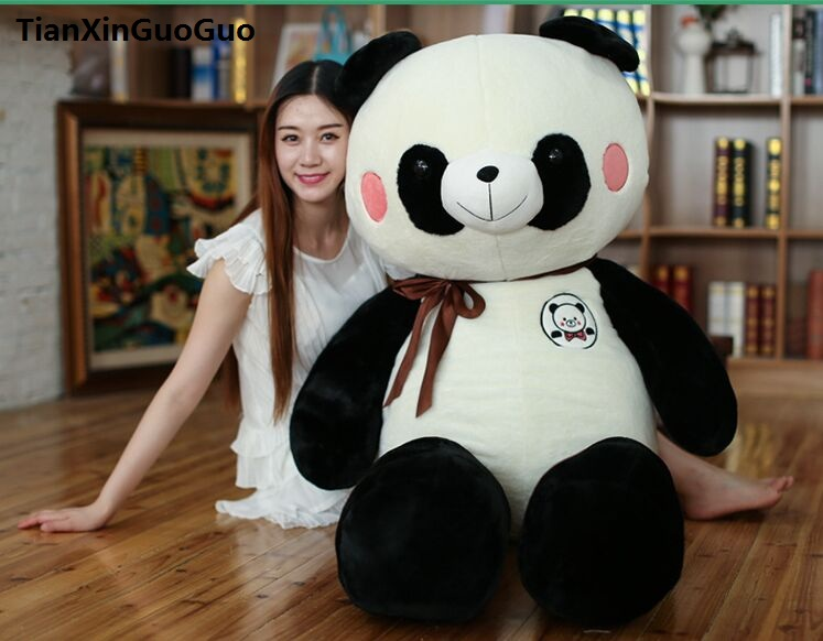 large 80cm lovely cartoon panda plush toy silk belt panda soft doll throw pillow birthday gift b1253 110cm cute panda plush toy panda doll big size pillow birthday gift high quality