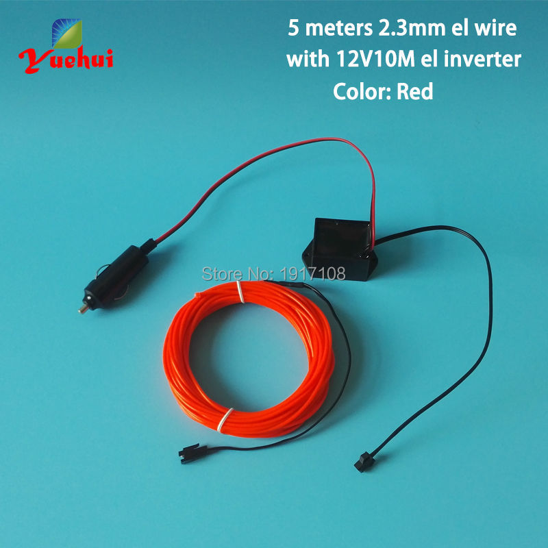 2.3mm 5M 10 Colors by DC12V steady on Inverter Car Auto Home Party Wedding Decoration EL Wire Flexible Neon Glowing Cold Light