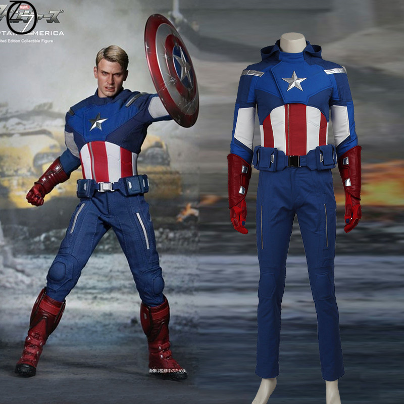 Captain America Cosplay Costume The Avengers 1 Steve Rogers Outfit Superhero Halloween Carnival Clothes Party Custom Made Adult