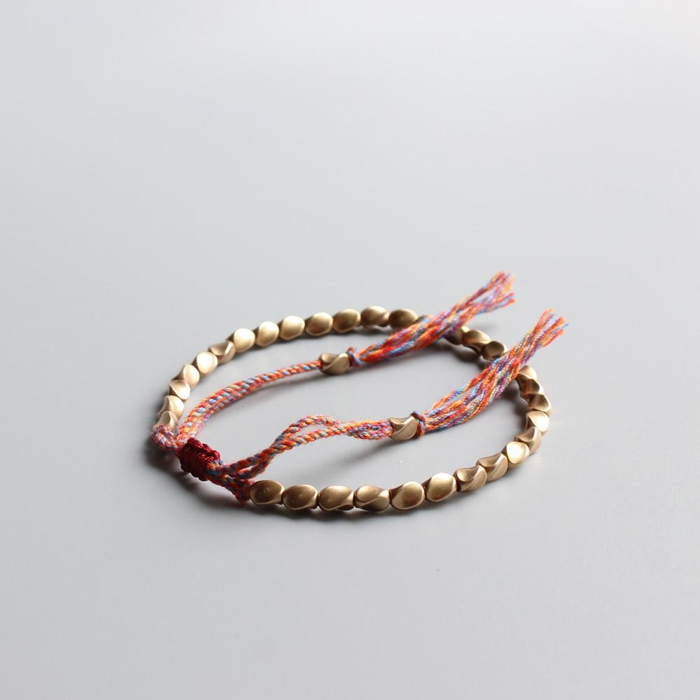 Eastisan pulsera de cuerda de la suerte hecha a mano con cuentas de cobre tibetano y pulseras para mujer y hombre, pulseras de hilo de algodón, bisutería única regalo