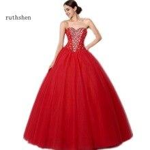 Vestido De baile rojo ruthshen, Vestidos De quinceañera con cristales, forma De corazón con cuentas, tul fruncido, 15 Anos