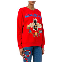 Brand Design Red Sweater 2018 Autumn Winter New Fashion Women Sequins Letters Bees Appliques Embroidery Flower Knitted Pullover