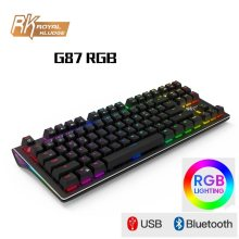 Royal Baru Klutz RK G87 Dual Mode Nirkabel Bluetooth/USB Kabel RGB Backlit Rechargeable Mechanical Gaming Keyboard RK Axis(China)
